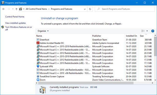 Uninstall Unwanted Programs